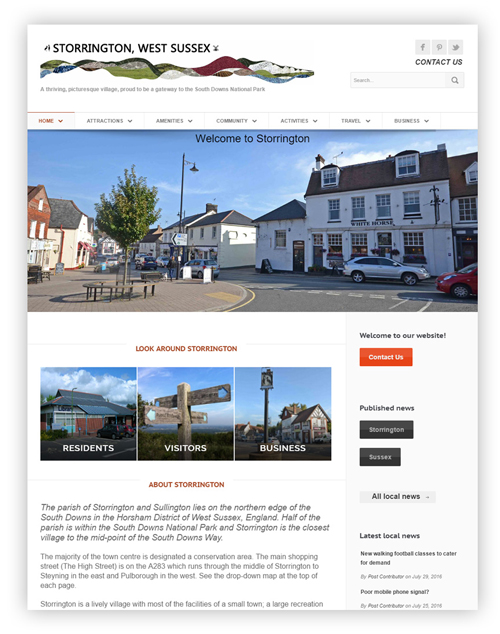 Village Website front page